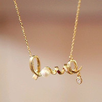 Jewelry Shiny New Arrival Gift Stylish Korean Alphabet Diamonds Strong Character Necklace [10417791252]