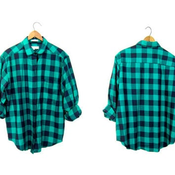 90s Green Black Buffalo Check Plaid Shirt Button Up Plaid Checkered Blouse Preppy Grunge Shirt Fall Button Up Boy Shirt DELLS Womens Large