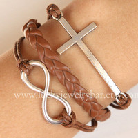 SALE--Cross bracelet, infinity bracelet, brown leather bracelet, Christmas gift
