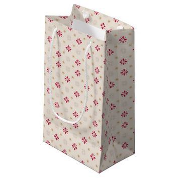 Retro Red Flower Gold Star Vintage Wallpaper Small Gift Bag