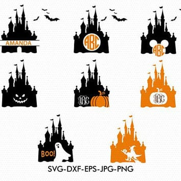 Halloween Disney castle svg,Disney castle monogram,Mickey Minnie mouse svg,Disney silhouette,Files for cricut,Silhouette,dxf jpg png svg eps
