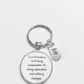 Best Friends True Friendship Long Distance Sisters BFF Gift Keychain