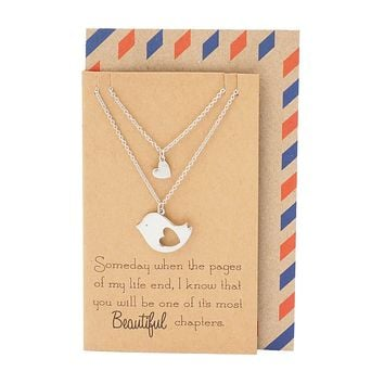 Sabrina Mother and Daughter Bird's Heart Necklace Set for 2