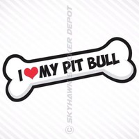 I Love My Pit Bull Vinyl Decal Bumper Sticker Rescue Pitbull Car Sticker Bone