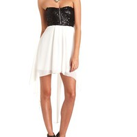 Sequin Bust Hi-Low Tube Dress: Charlotte Russe