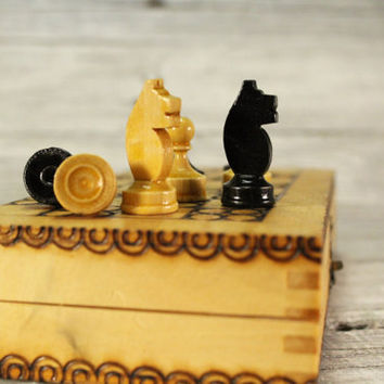 "Handmade Chess 7.1"" x 7.1"", Travel Chess, Collectible Wooden Folding Chess Game Board Set+Wooden Pieces, Hand Carved Chess Set"