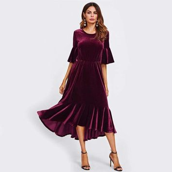 VELVET MAXI DRESS WITH TRUMPET SLEEVES