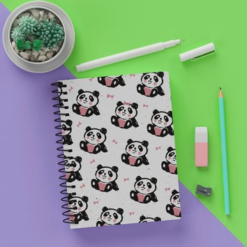 "5.5"" x 8""  Blank Spiral Cute Bow Panda Notebook Journal - Write Panda Notes In Style"