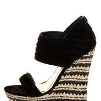 Bamboo Pompey 12 Black Pleated Cuff Platform Wedges