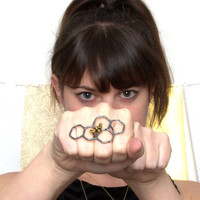 Oxidized Black and Gold Sterling Silver Honey Knuckles Knuckle Ring
