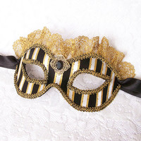 Steampunk / Victorian Style Masquerade Mask - Black & White Striped Venetian Mask Decorated With Gold Lace