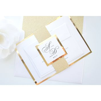 Formal Gold Wedding Invitation, Gold Glitter Wedding Invitation, Elegant Gold Wedding Invitation - DEPOSIT