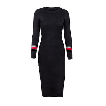 Women Dresses Series Striped Fitness Elegant Knitted Sweater Dress Casual Bodycon