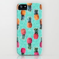 From Pineapple to Pink - tropical doodle pattern on mint iPhone & iPod Case by micklyn   Society6