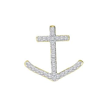 14kt White Gold Womens Round Diamond Anchor Nautical Pendant 1-4 Cttw