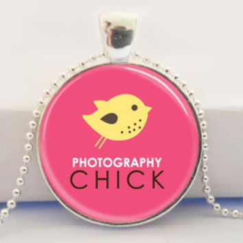 Photography Chick Pink and Yellow Art Glass Dome Pendant Necklace