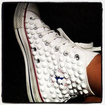 Studded Converse, Converse White High Top with White Cone rivet studs by CUSTOMDUO on