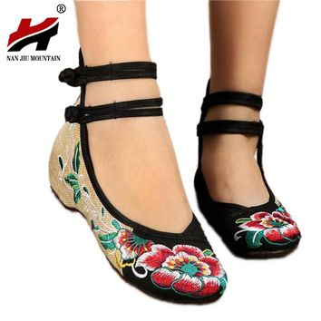 Large Size 35-41 Women Flat Bright Peacock Embroidery Women Shoes Old Peking Mary Jane Flat Heel  Women Dance Casual Shoes