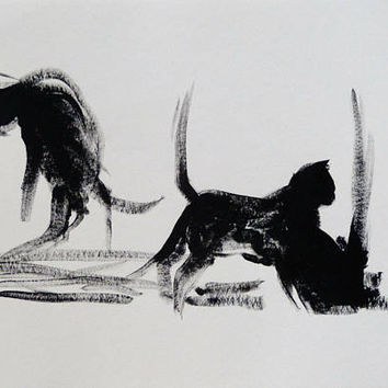 Two cats ink drawing painting ART 29x21 cm, great gift for animal lover, unique artwork directly from artist original not a print