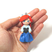 Disney's The Little Mermaid Ariel Chibi Charm Miniature. Handmade Polymer Clay Charm. Use as Pendant, Cell Phone Accessory Charm, Keychain.