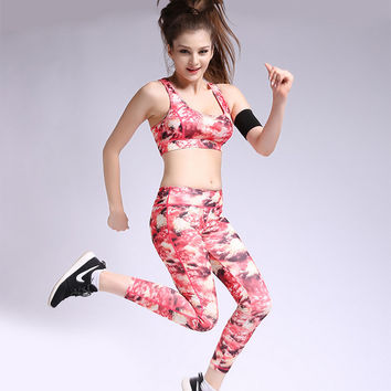 New Women Printed Sports Sets for Gym Bodybuilding Running Colorful Sport Bra Top + Fitness Leggings Pants 1 Suit Free Shipping