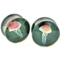 "Pair of Glass Double Flared Amber Purple Jellyfish Plugs: 1/2"" Indigo Sparkle"