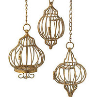 Golden Birdcages Hanging Pendant Decor