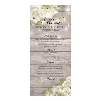Rustic Wood Rose Floral String Lights Wedding Menu