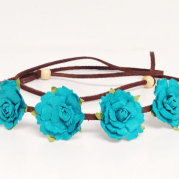Custom Flower Crown - Flower Headband - Music Festival Wear, Coachella, Rave or any occasion - Small Bloom - New Color-Aqua