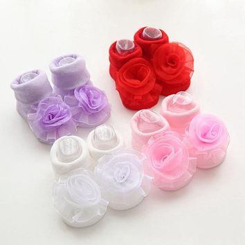 1 Pair Cute Baby Girl Infant Toddler Soft Princess Lace Rose Flowers Cotton Socks