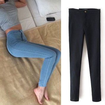 High waist Women jeans Stretch Skinny jeans, black Denim Ladies pants