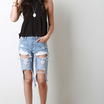 Torn Denim Boyfriend Shorts