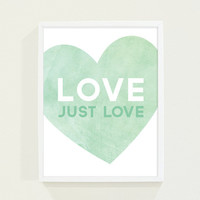 Watercolor Baby Nursery Art in Mint Green Pastel - Love Poster Wall Art - Typography Print Art for Nursery
