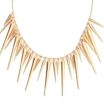 Spikes Collar Bib Necklace Studs Gold Tone Choker NH03 Fashion Jewelry