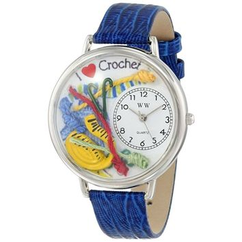 SheilaShrubs.com: Unisex Crochet Royal Blue Leather Watch U-0450011 by Whimsical Watches: Watches