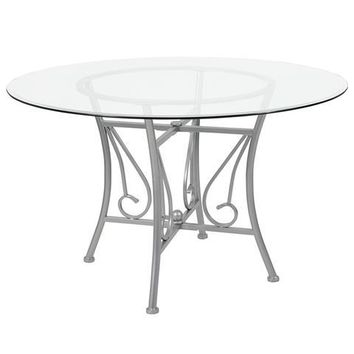 Princeton 48'' Round Glass Dining Table with Silver Metal Frame