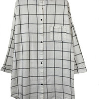 Plaid Long Sleeved Shirt Collar Buttoned Loose Top
