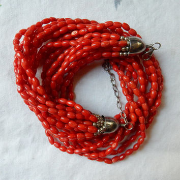 Red Coral Torsade Multi Strand Coral Necklace Sterling Silver Perfect For Fall Great Gift Statement Necklace Coral Jewelry