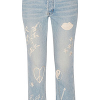 Bliss and Mischief - Study Hall embroidered high-rise straight-leg jeans