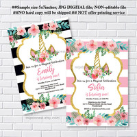 Unicorn invites, Birthday Invitation, gold unicorn girl birthday party for any age 1st 2nd 3rd 4th 5th 6th 7th 8th 9th 10th- card 1209