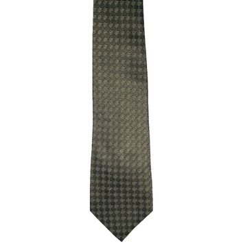 Geoffrey Beene Designer Chevron Checked Wide Silk Tie - Olive Green
