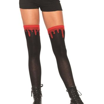 Leg Avenue Female Dripping Blood Woven Over The Knee Socks 6909