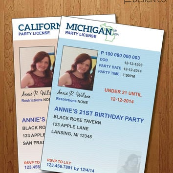 "21st Birthday Invitation - Digital File - License Theme - ""The Annie"""