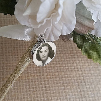 Wedding Boutonniere Charm Sterling Silver / Bouquet Photo Charm / Memorial Charm Grooms Boutonniere Charm / Boutineer Charm Grooms Gift
