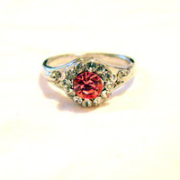 Vintage Silver Tone and Rhinestone Costume Ring