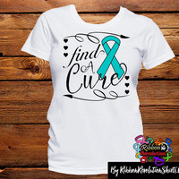 Teal Ribbon Find A Cure Shirts (Batten Disease, Interstitial Cystitis, Myasthenia Gravis, Ovarian Cancer, PCOS, Scleroderma and More)