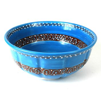 Large Bowl - Azure Blue Mexican Pottery