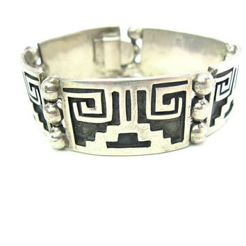 Aztec Bracelet Mexican Sterling Silver Overlay Links Oxidized Black Taxco Signed Abstract Geometric Panels 50s Mexico Jewelry Heavy 1.27oz