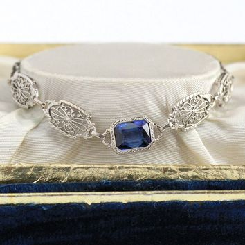 Art Deco Bracelet - Vintage 14k White Gold Created Sapphire Filigree Panel - 1920s Antique 2.75 Carat Blue September Birthstone Fine Jewelry