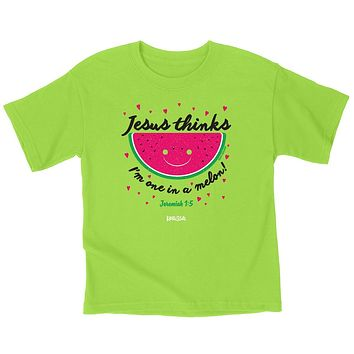 Cherished Girl Jesus Thinks I'm One in a Melon Watermelon Christian Toddler Youth Bright T Shirt